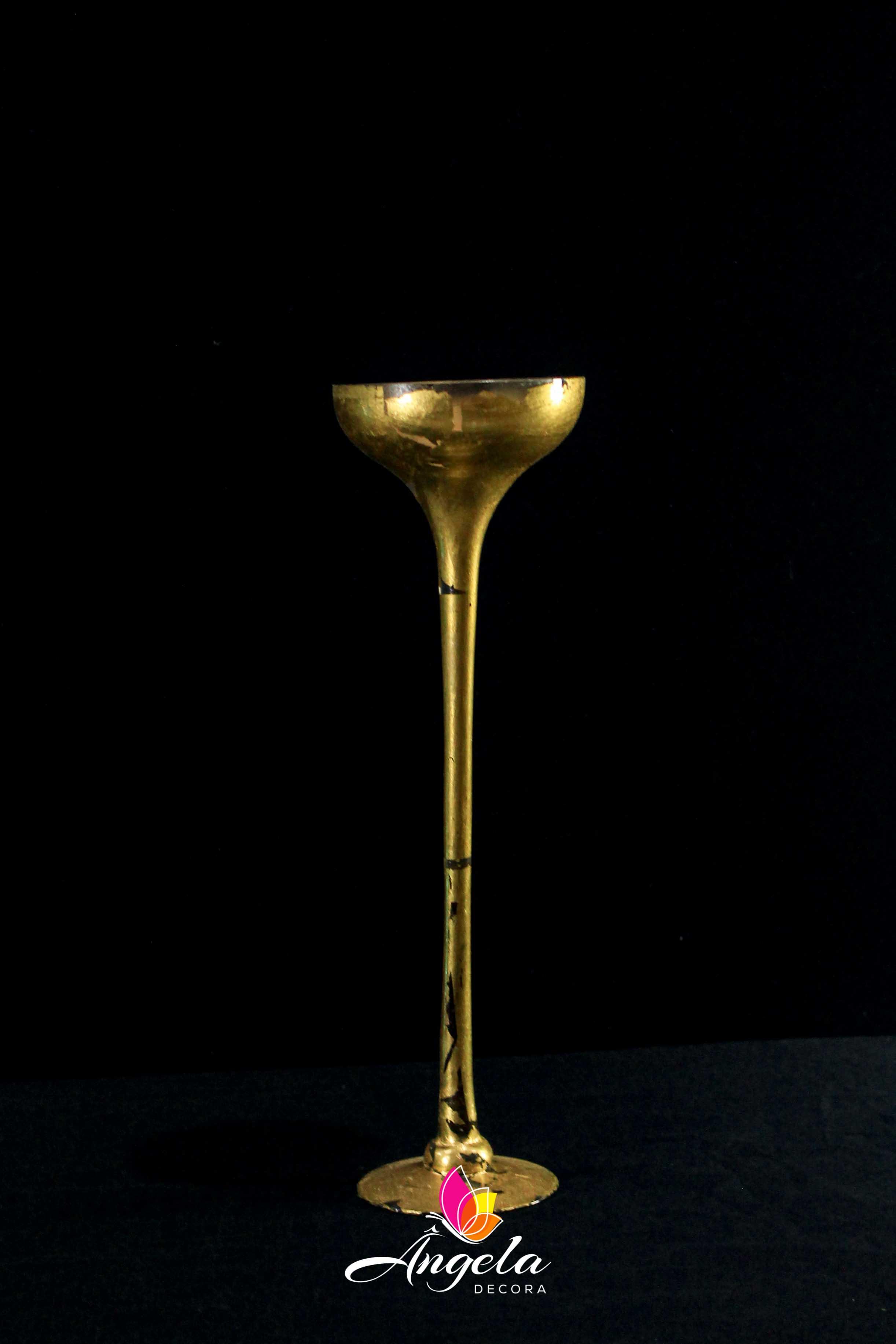 Vaso Cálice Alto Folheação à ouro