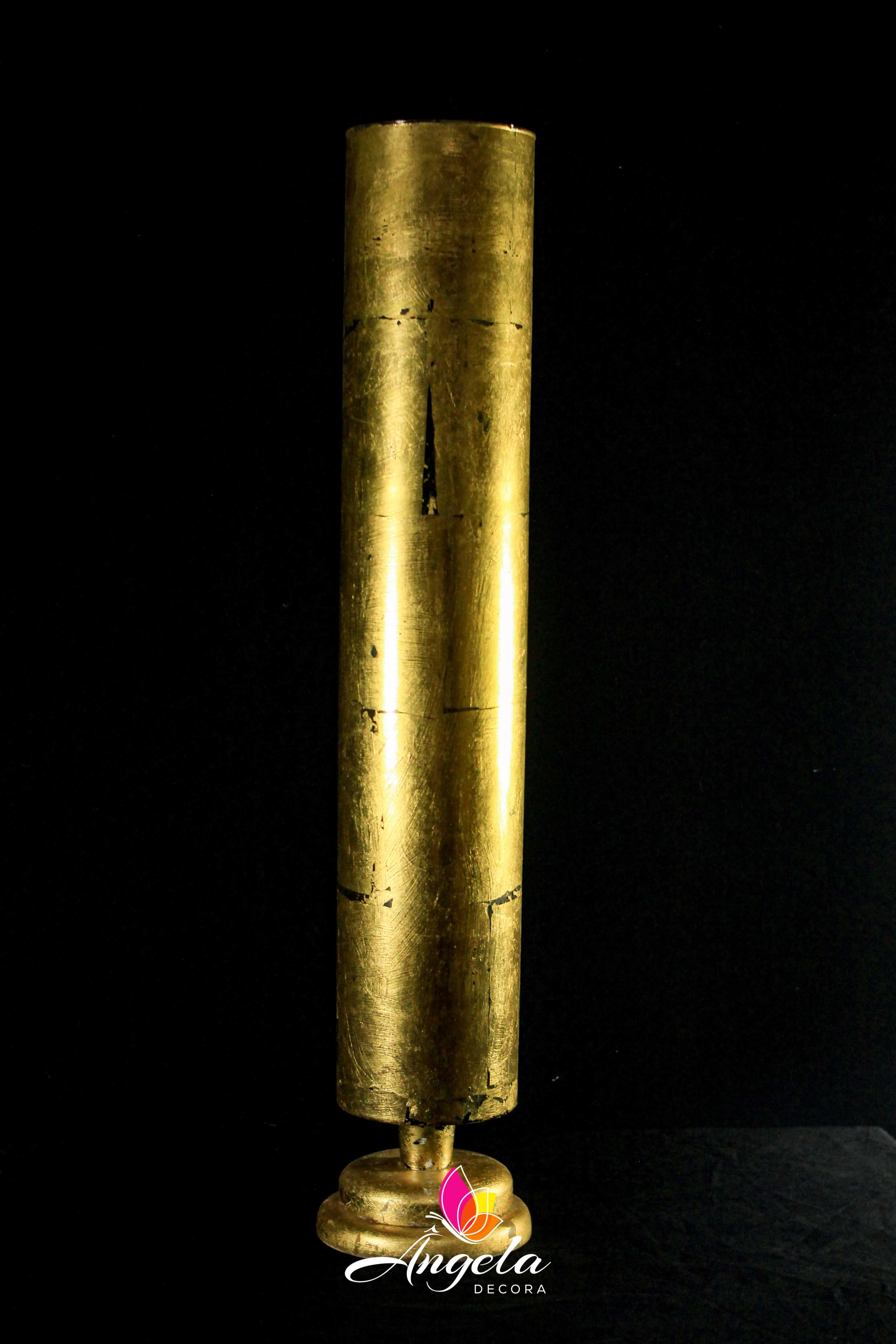 Vaso Cilindro com base Folheação à ouro