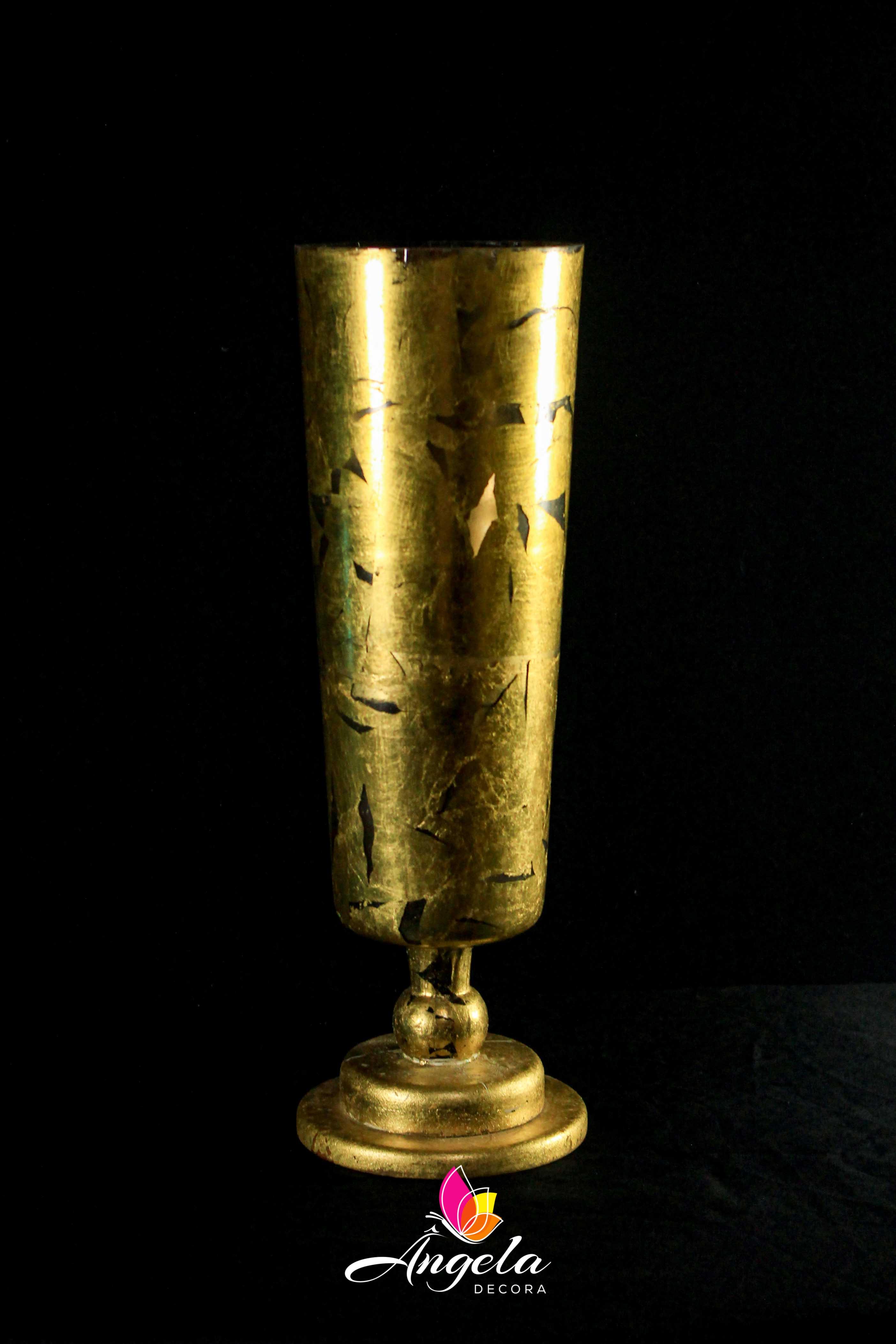 Vaso cone com base Folheação à ouro