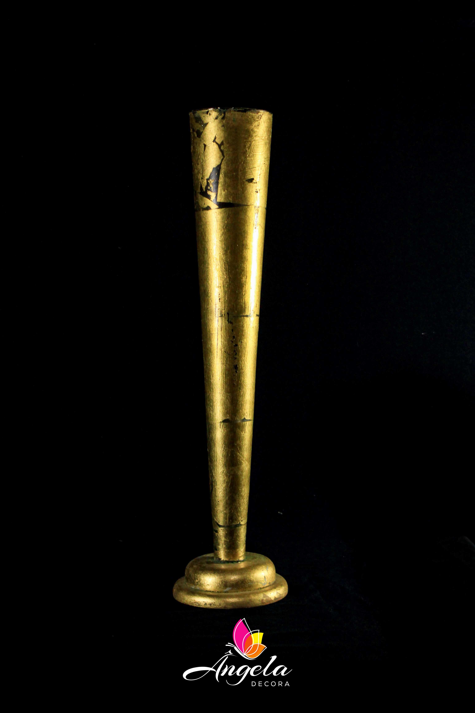 Vaso Cone Longo Folheação à ouro
